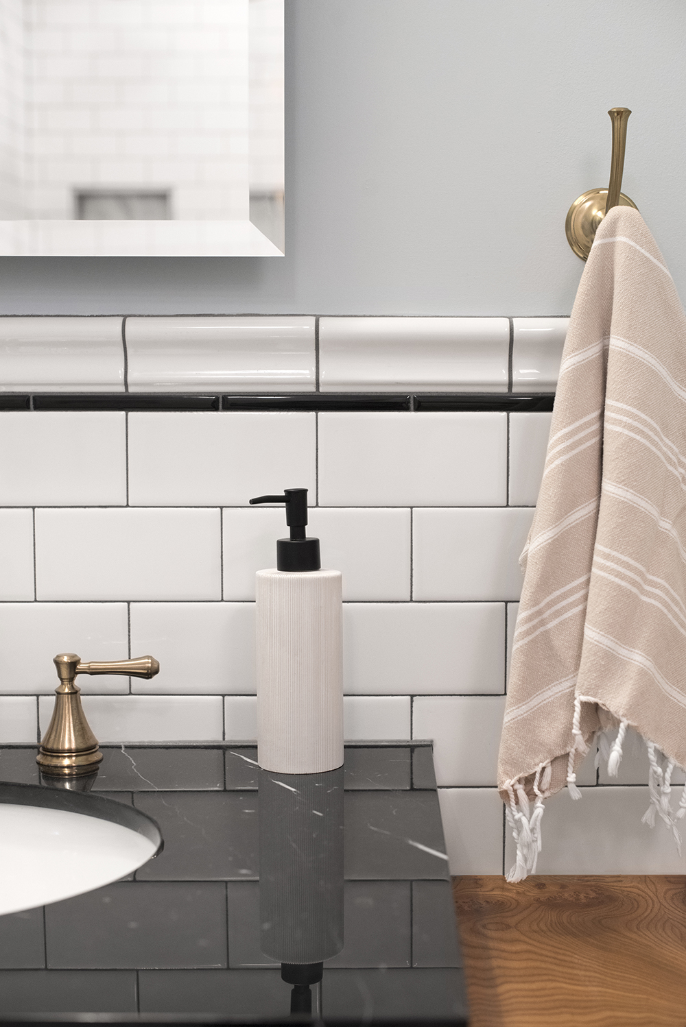 Bathroom Vanity With Marble Top And Subway Tile Backsplash Room For Tuesday